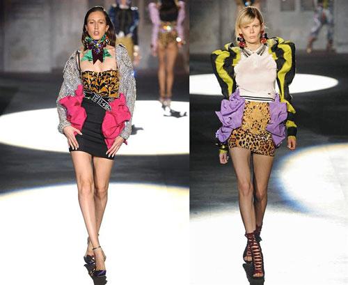 64ae1e30e5d3 DSquared Primavera Estate 2017: linee e colori. Minidress e body  attillatissimi fanno da controparte a giacche dalle spalle ampissime,  rigide e colorate.